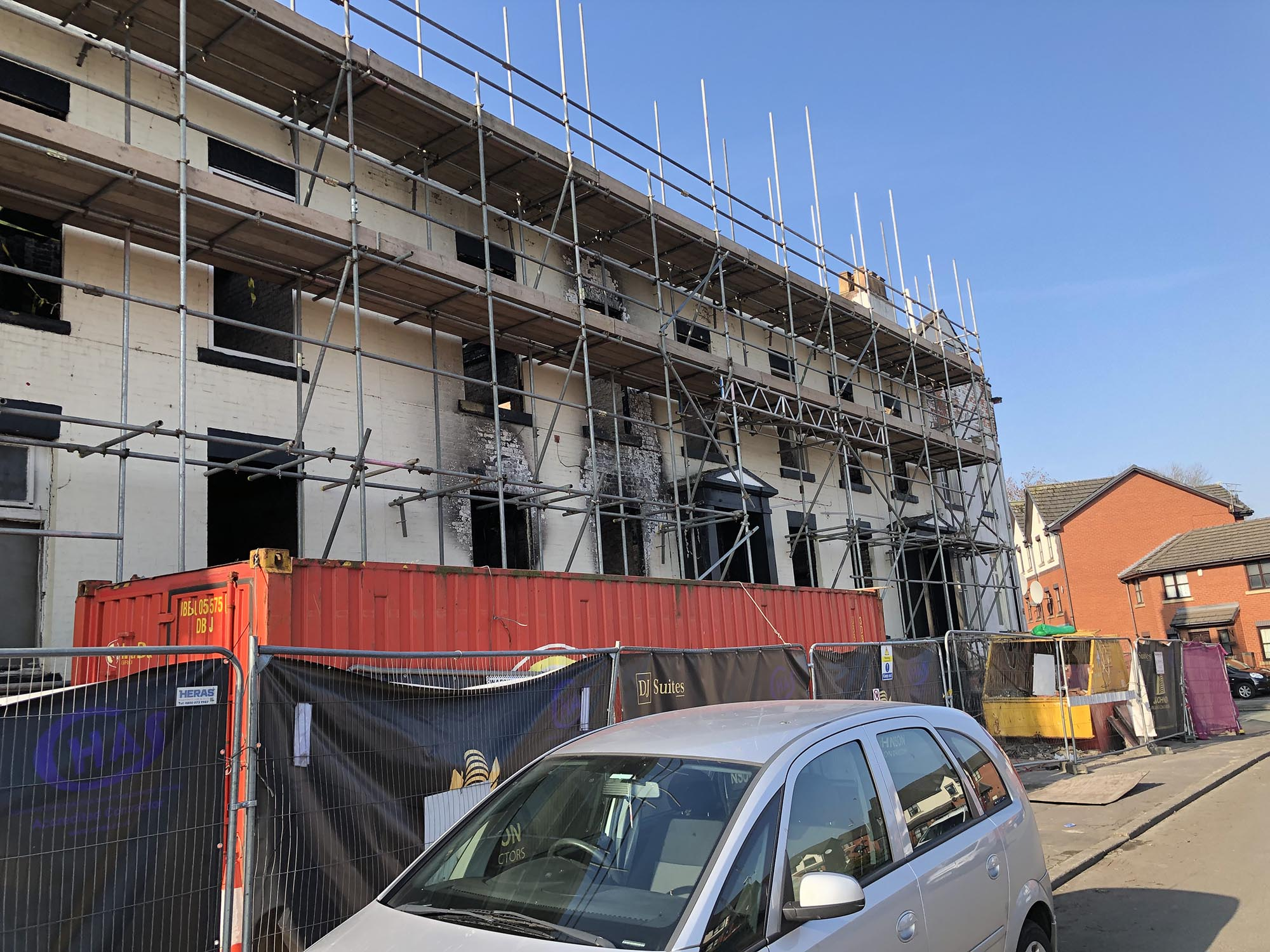 scaffolding damaged building