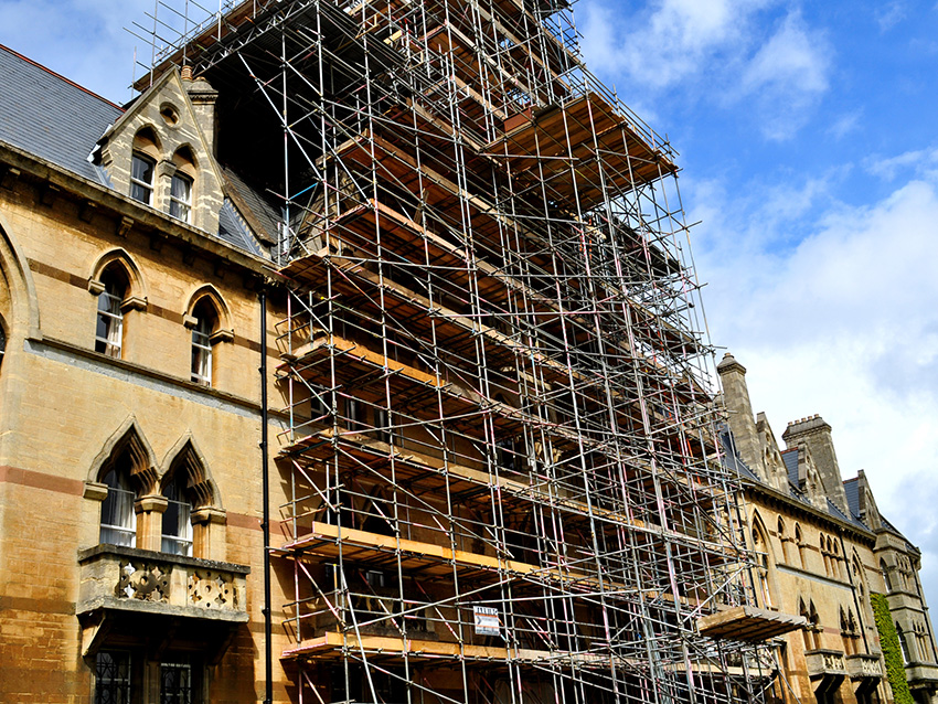 Scaffolding for restoration of an old building of Christ church College in Oxford